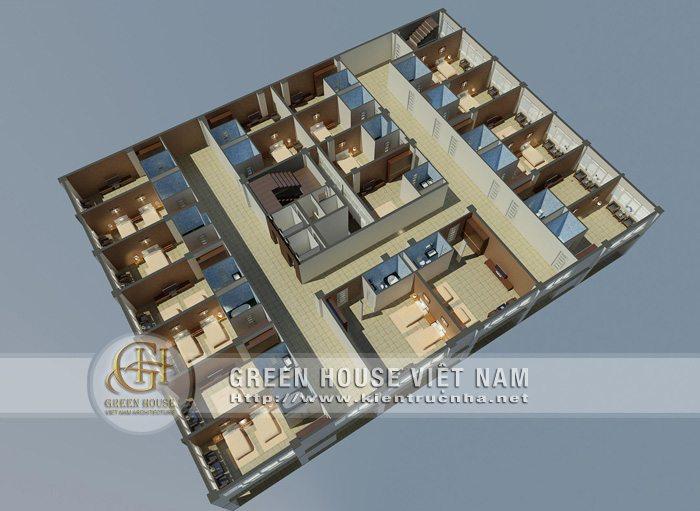 Tầng 4 đến tầng 8 là khu vực khách sạn