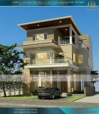 Thiết kế biệt thự 3 tầng phong cách hiện đại - biệt thự nhà cô Hậu