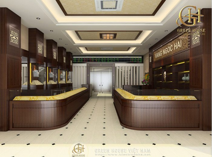 Thiết kế nội thất cửa hàng vàng bạc – Nhà anh Hải