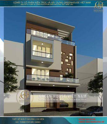 Thiết kế nhà 4 tầng hiện đại mặt tiền lớn - không gian xanh