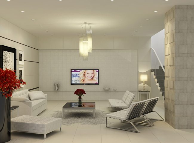 Sử dụng gạch ốp lát cho phòng khách