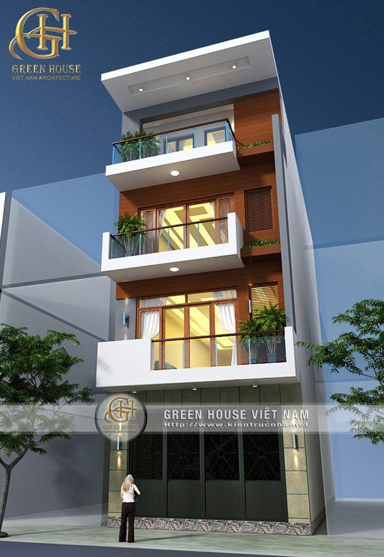 Thiết kế nhà phố 4 tầng, mặt tiền 5m