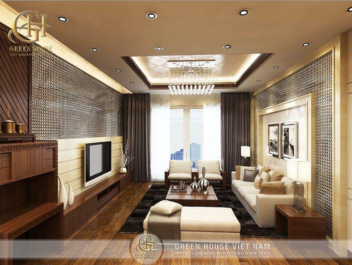 Thiết kế nội thất phòng khách diamond flower tower