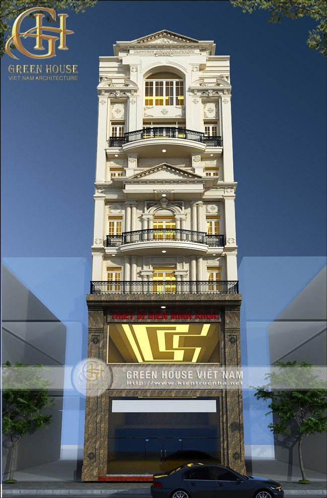 thiết kế nhà ở kết hợp với kinh doanh theo phong cách cổ điển