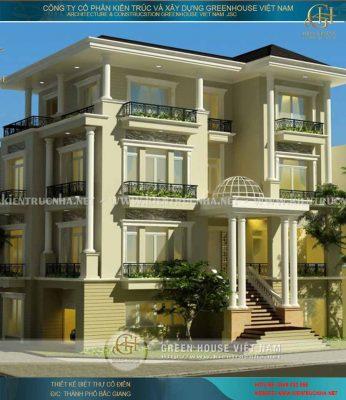 Thiết kế biệt thự 4 tầng tân cổ điển - biệt thự anh Lương