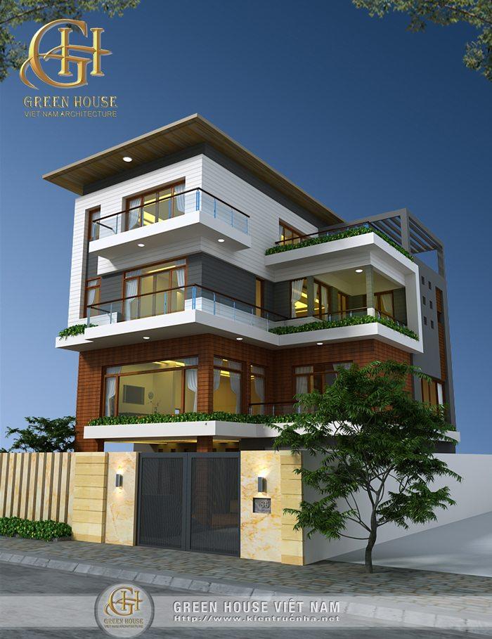 Thiết kế biệt thự 3 tầng, hiện đại – nhà Anh Thủy, Bắc Giang