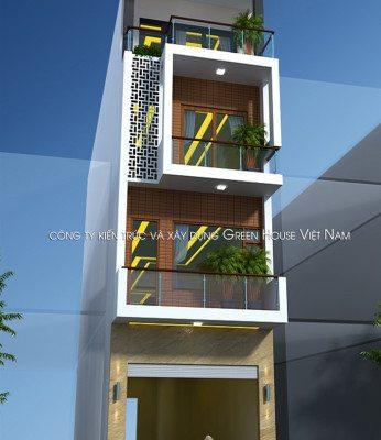 Thiết kế nhà lô hiện đại 4 tầng