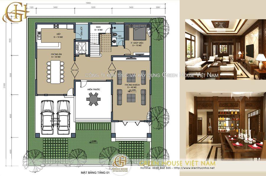 Thiết kế biệt thự tân cổ điển 3 tầng 1 tum