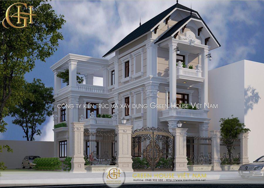 Thiết kế biệt thự 3 tầng nhà anh Thái