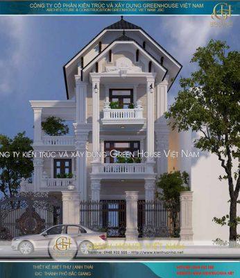 Thiết kế biệt thự 3 tầng hình chữ L - Biệt thự tân cổ điển nhà anh Thái