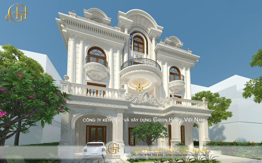 Thiết kế biệt thự tân cổ điển 3 tầng 1 tum: Chú Khoa-Bắc Giang