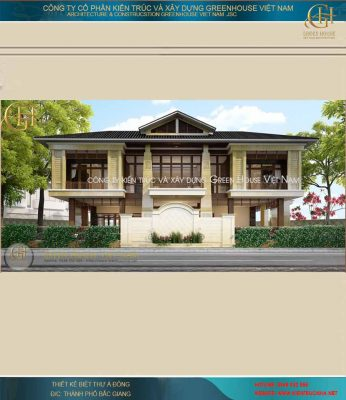 Thiết kế biệt thự Á Đông 2 tầng độc đáo