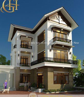 thiết kế nhà 3 tầng và 1 tum hiện đại