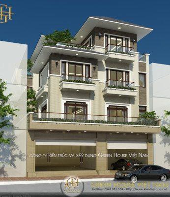 thiết kế nhà 3 tầng, 1 tum
