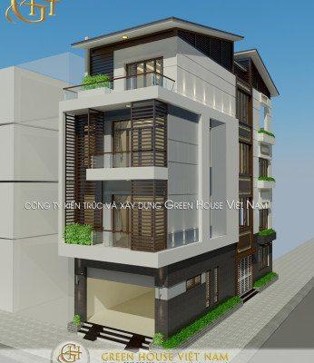 thiết kế nhà 4 tầng 2 mặt tiền