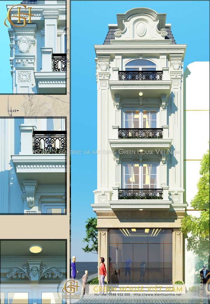 Thiết kế nhà phố 4 tầng, 2 mặt tiền