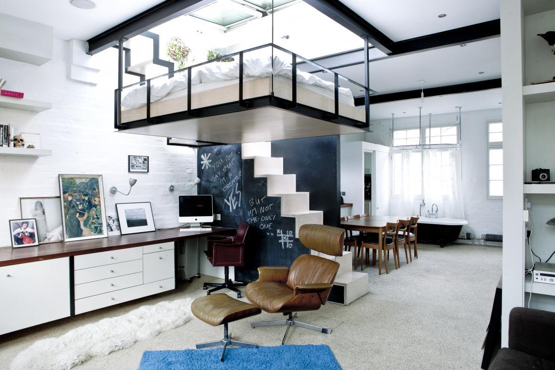 Chào đón căn nhà đáng tự hào tại Luân Đôn: Giường ngủ trong phòng khách