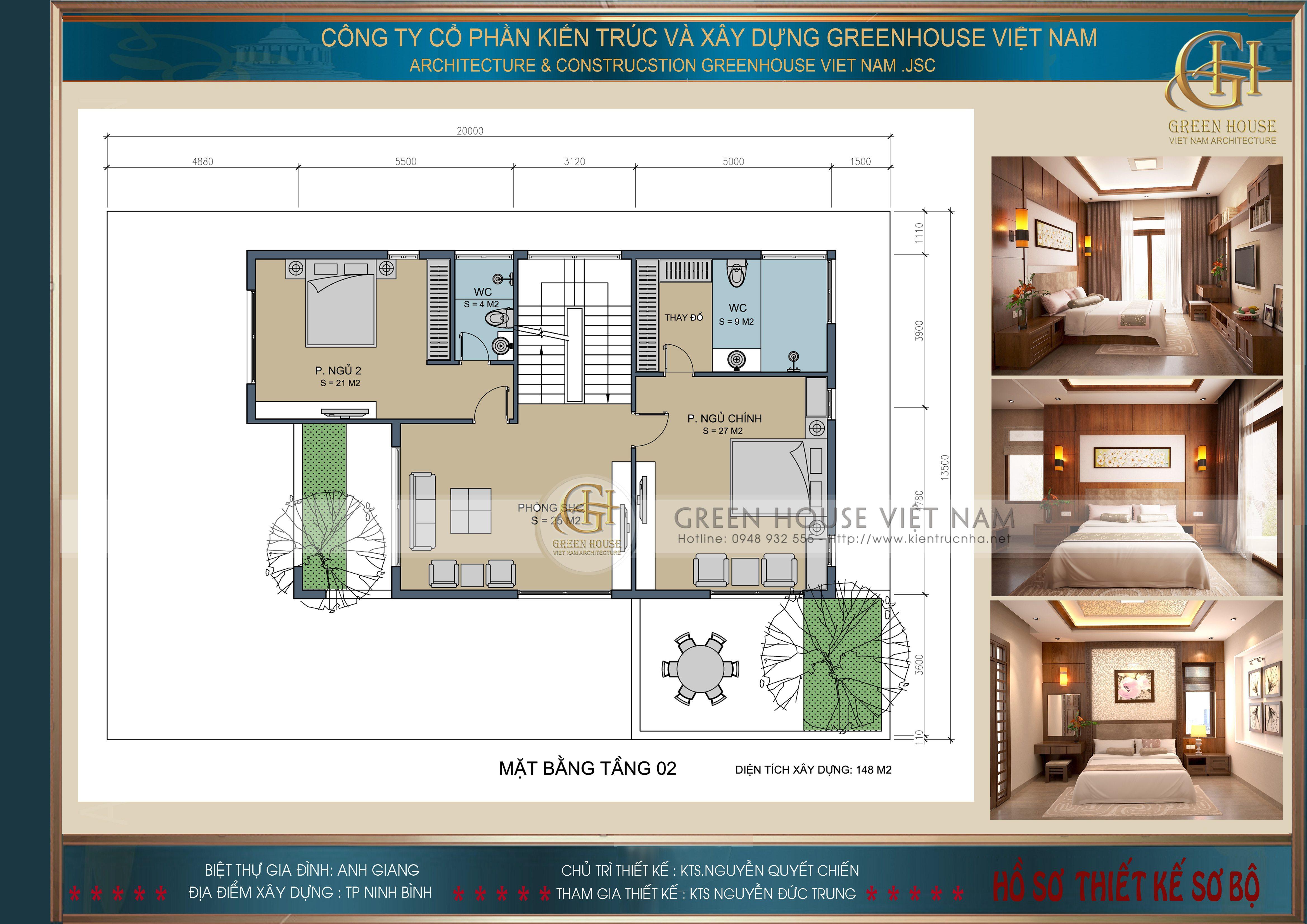 Thiết kế nội thất: Biệt thự gia đình anh Giang- Tp Ninh Bình