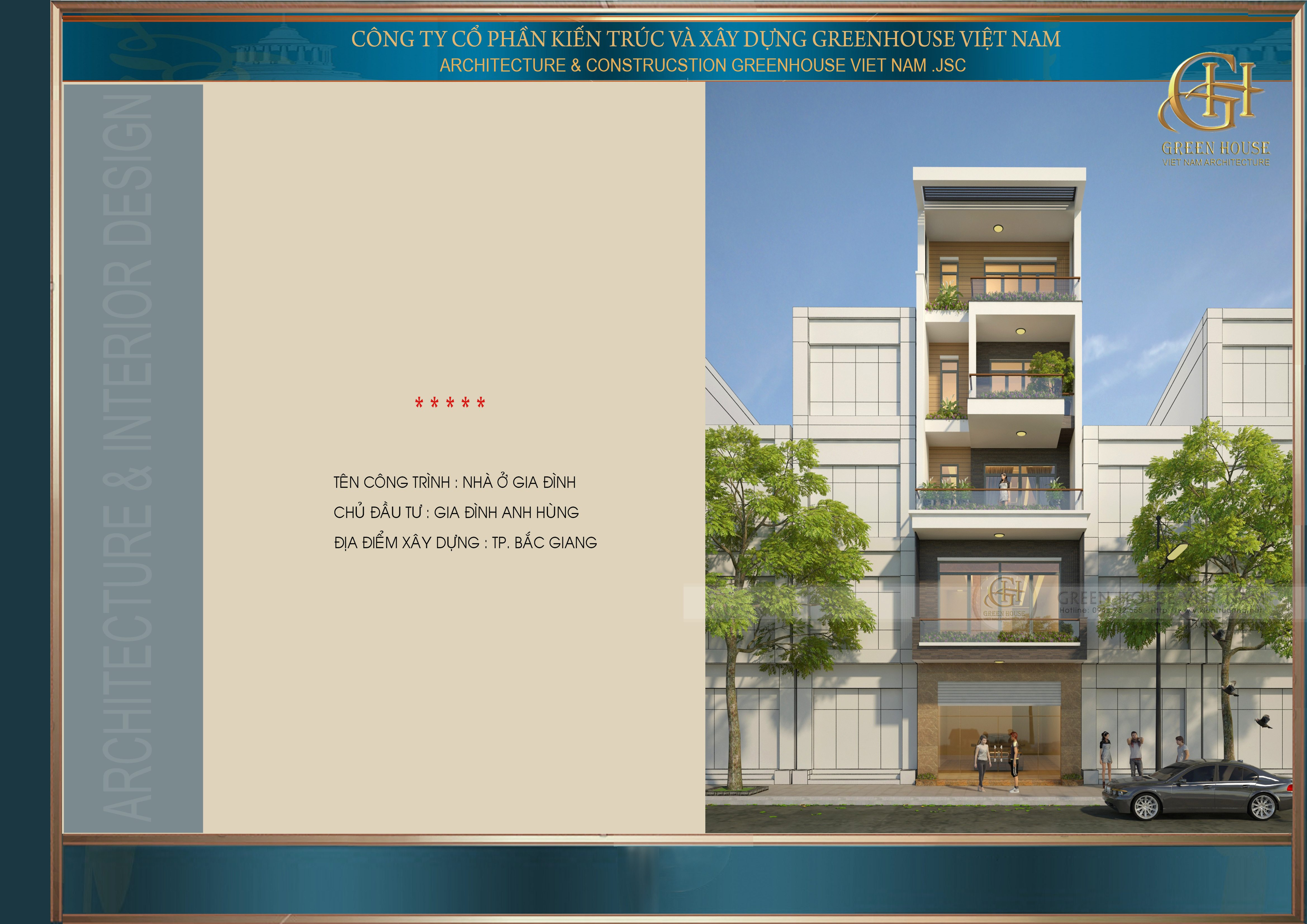 Thiết kế nhà lô phố : gia đình anh Hùng- Tp Bắc Giang