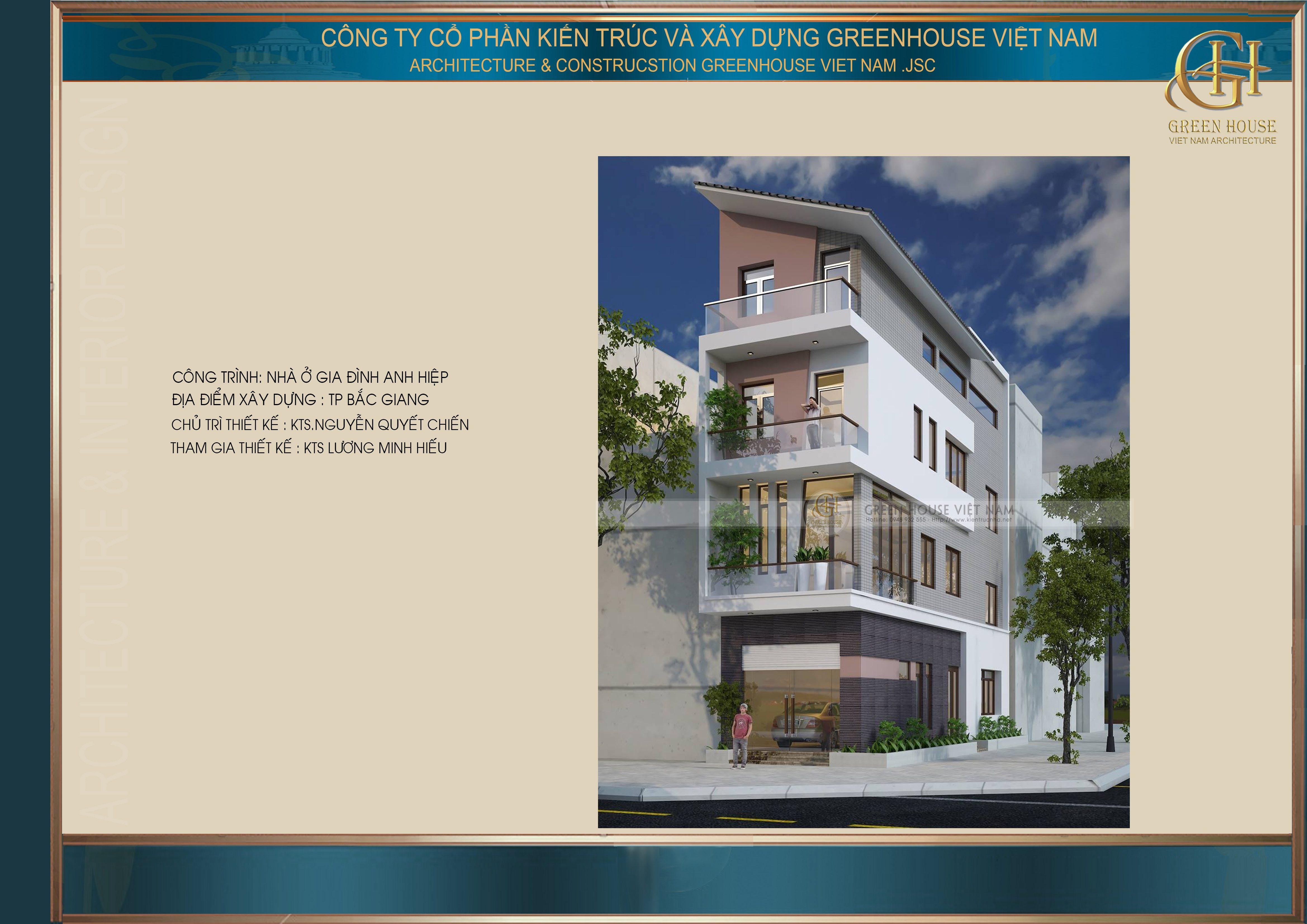 Thiết kế nhà lô phố: Gia đình anh Hiệp- Tp Bắc Giang