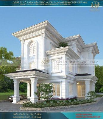 Thiết kế kiến trúc biệt thự tân cổ điển 3 tầng mái bằng