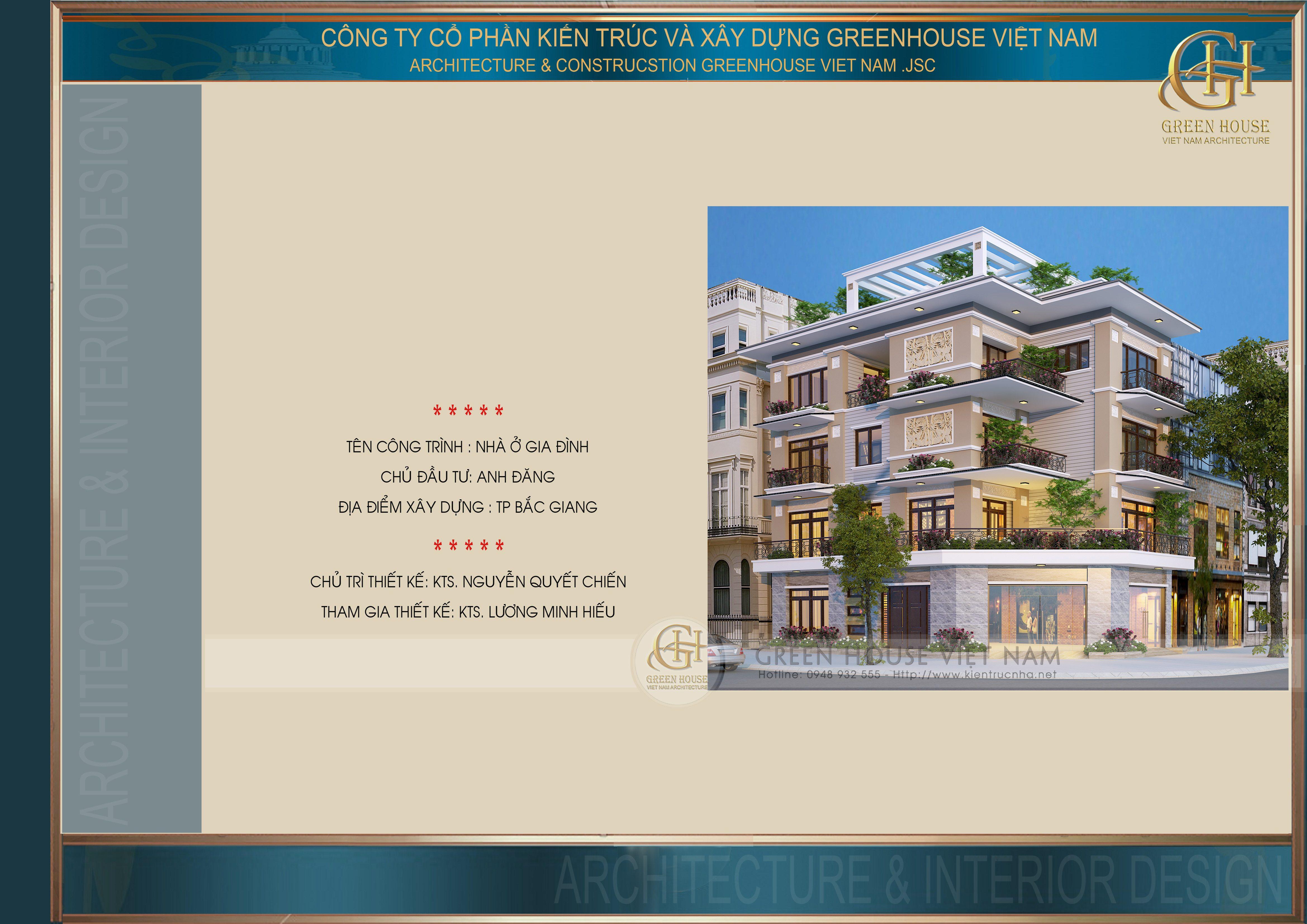 Thiết kế nhà lô phố: nhà anh Đăng- TP Bắc Giang
