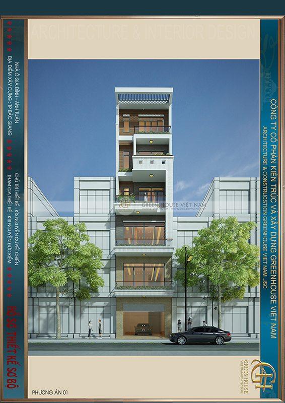 Thiết kế nhà lô phố: gia đình anh  Tuấn – Tp Bắc Giang