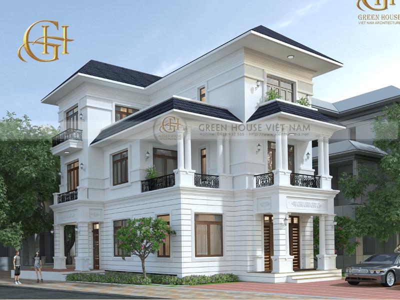 Thiết kế biệt thự 3 tầng 7 phòng ngủ dành cho gia đình 3 thế hệ