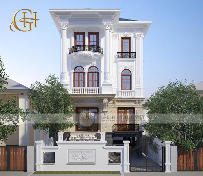 Mẫu thiết kế biệt thự tân cổ điển ai cũng muốn sở hữu tại Bắc Ninh: Biệt thự 1 tầng trệt, 3 tầng lầu
