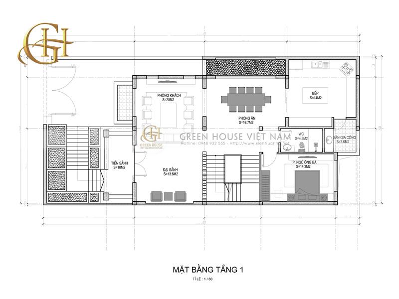Thiết kế biệt thự 3 tầng tại Hà Nội