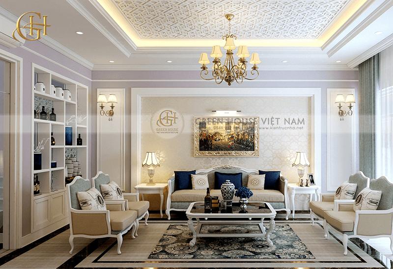 Thiết kế nhà lô phố – nội thất tân cổ điển với sắc trắng trang nhã