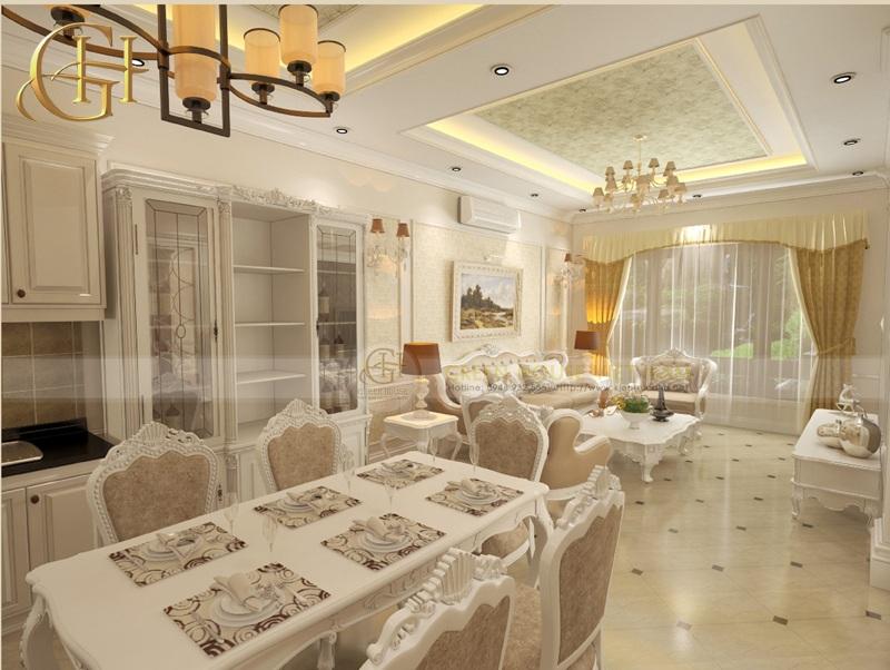 Nội thất phòng ăn phòng khách cổ điển
