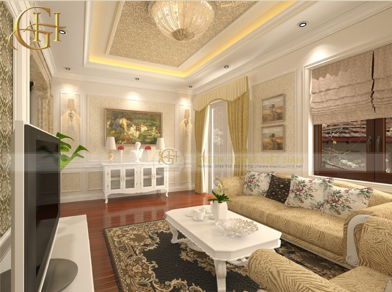 Thiết kế nội thất tân cổ điển sang trọng, đẳng cấp: Biệt thự Trung Văn - Phòng sinh hoạt chung
