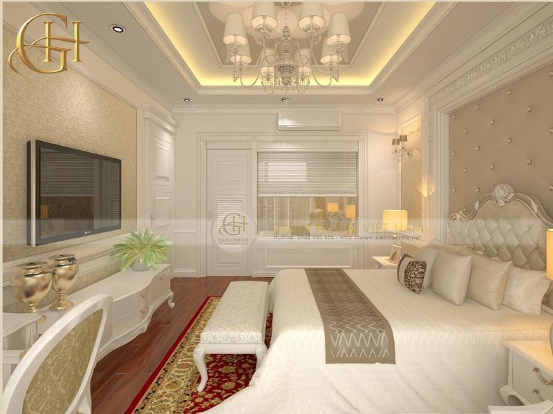 Thiết kế nội thất tân cổ điển sang trọng, đẳng cấp: Biệt thự Trung Văn - Phòng ngủ master