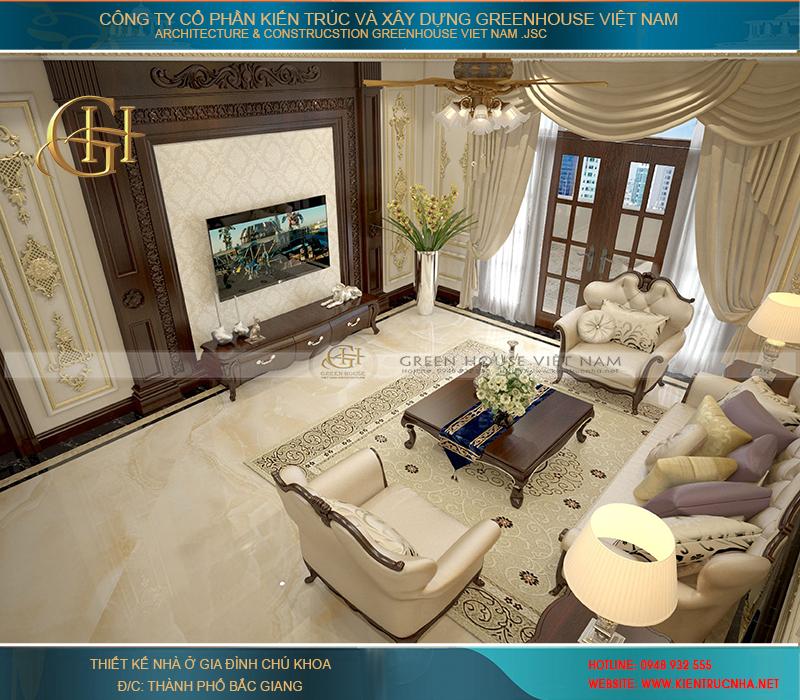 thiết kế nội thất cho mẫu biệt thự 3 tầng nhà chú Khoa