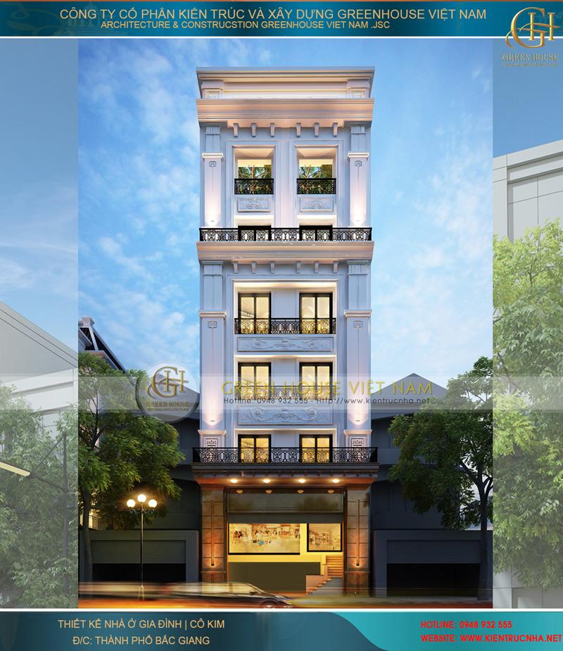 Thiết kế nhà lô phố 6 tầng kết hợp nhà ở và kinh doanh - Nhà cô Kim