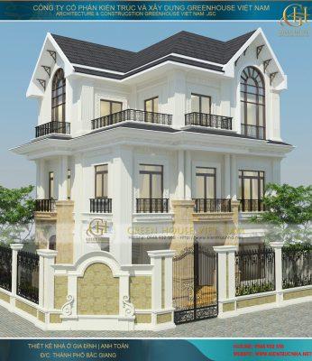 thiết kế biệt thự 3 tầng, 3 phòng ngủ phong cách tân cổ điển