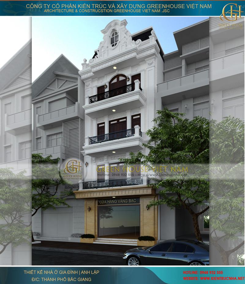 thiết kế nhà phố kết hợp làm cửa hàng vàng