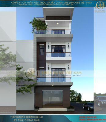 thiết kế nhà phố kết hợp kinh doanh 4 tầng 3 phòng ngủ