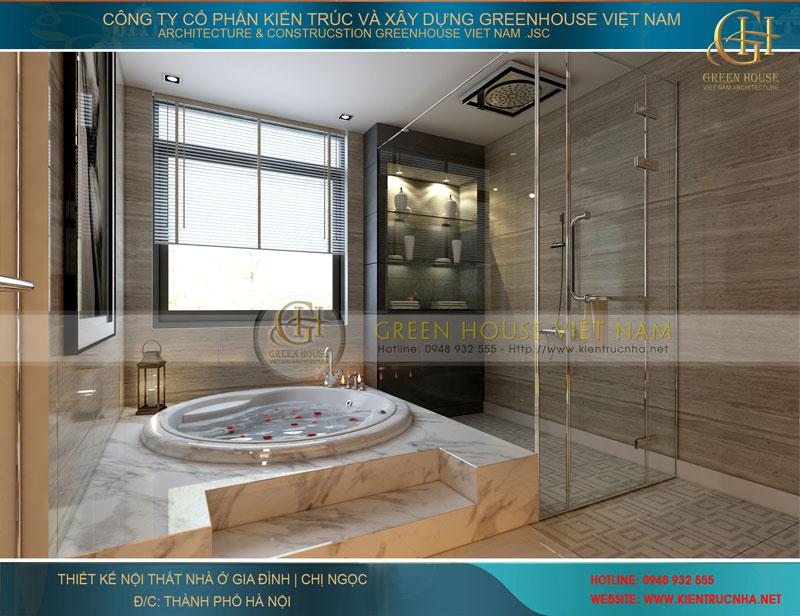 Phòng tắm với bể sục thư giãn