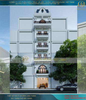 Thiết Kế Nhà Phố 6 Tầng, 3 Phòng Ngủ Tân Cổ Điển Tại Bắc Giang - Nhà Anh Thành