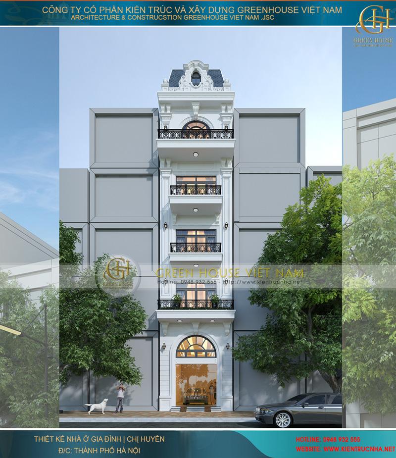 Mẫu Nhà Lô Phố 5 Tầng, 1 Tum Phong Cách Tân Cổ Điển Tại Hà Nội