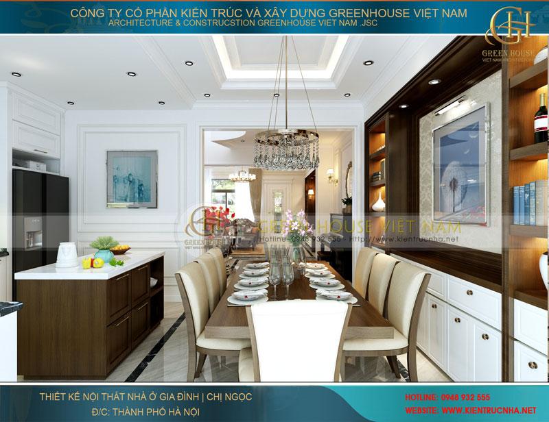 Không gian của phòng ăn và bếp