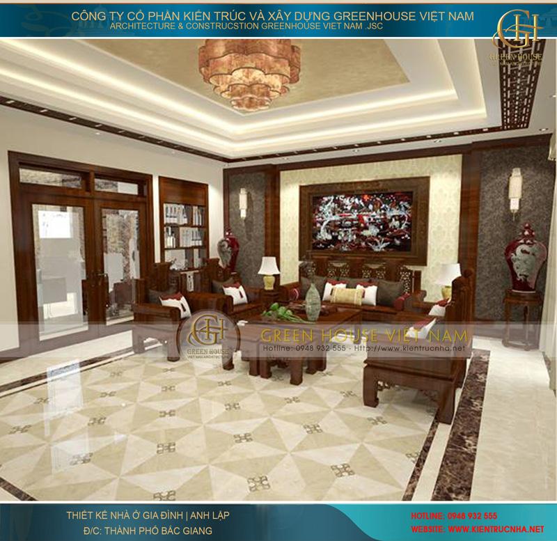 Thiết kế phòng khách hiện đại với nội thất gỗ được làm với nhiều nét tinh xảo