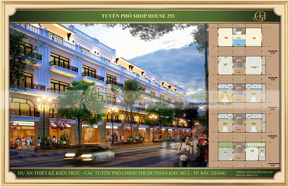 Mặt bằng mẫu 1 dự án Shophouse tuyến đường 293 tại Bắc Giang