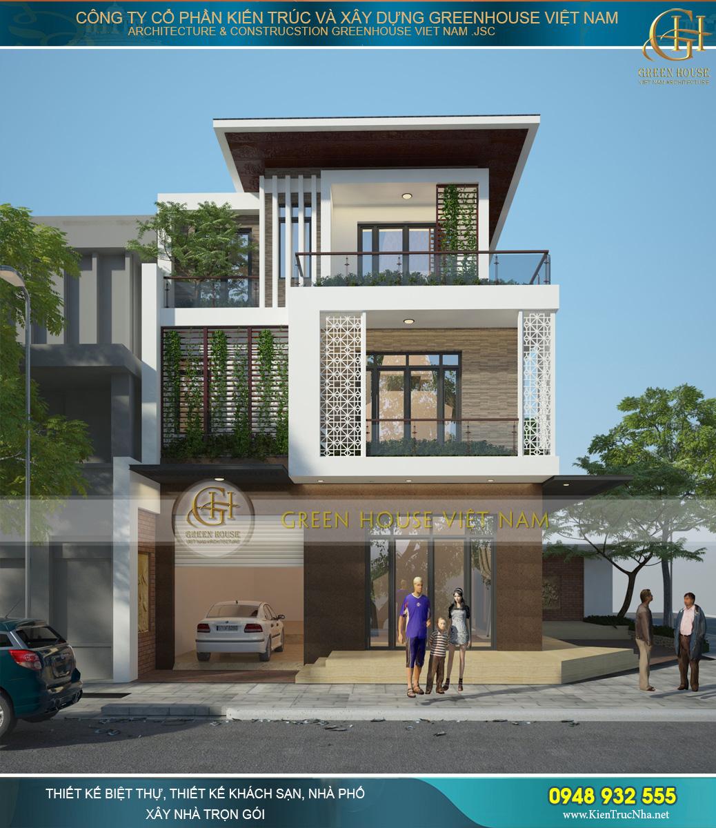 Phương án thiết kế biệt thự hiện đại 3 tầng