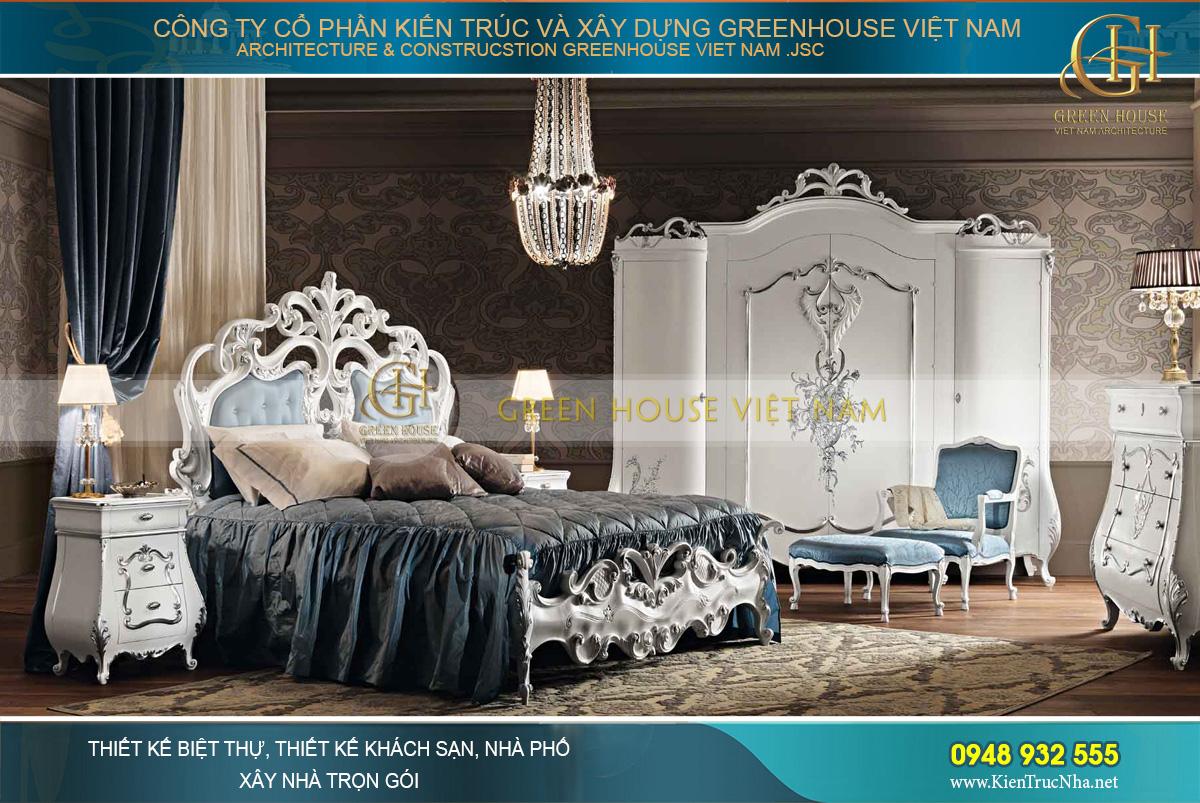 thiết kế giường ngủ kiểu cổ điển