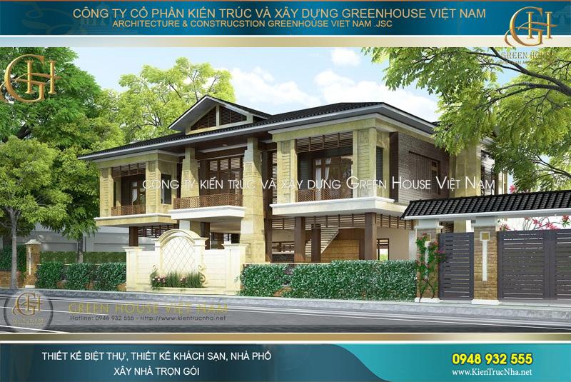 thiết kế biệt thự hiện đại 2 tầng phong cách Á Đông