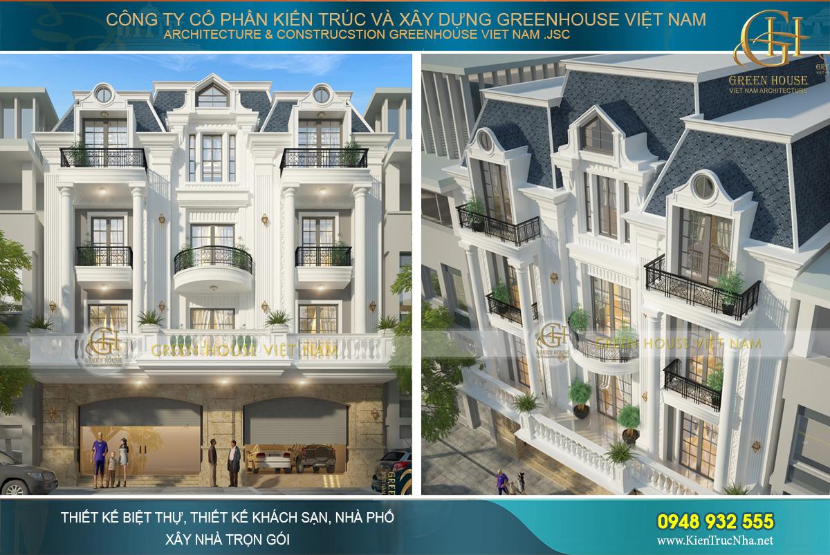thiết kế biệt thự tân cổ điển kiến trúc Pháp tại Bắc Giang