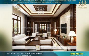 Bởi vậy các KTS GreenHouse Việt Nam đã lựa chọn phong cách thiết kế nội thất biệt thự hiện đại Á Đông cho biệt thự của gia đình chú Trực. Nó rất phù hợp với những người có chiều sâu và muốn cảm thụ những tinh hoa dân tộc ngay chính trong ngôi nhà của mình. Chất hiện đại hòa trộn trong kiến trúc biệt thự Á Đông chính là điểm sáng giúp cho công trình càng thêm hoàn hảo trong xu hướng thiết kế nội thất hiện nay. Thiết kế nội thất phòng khách của nội thất biệt thự Á Đông tại Hà Nội